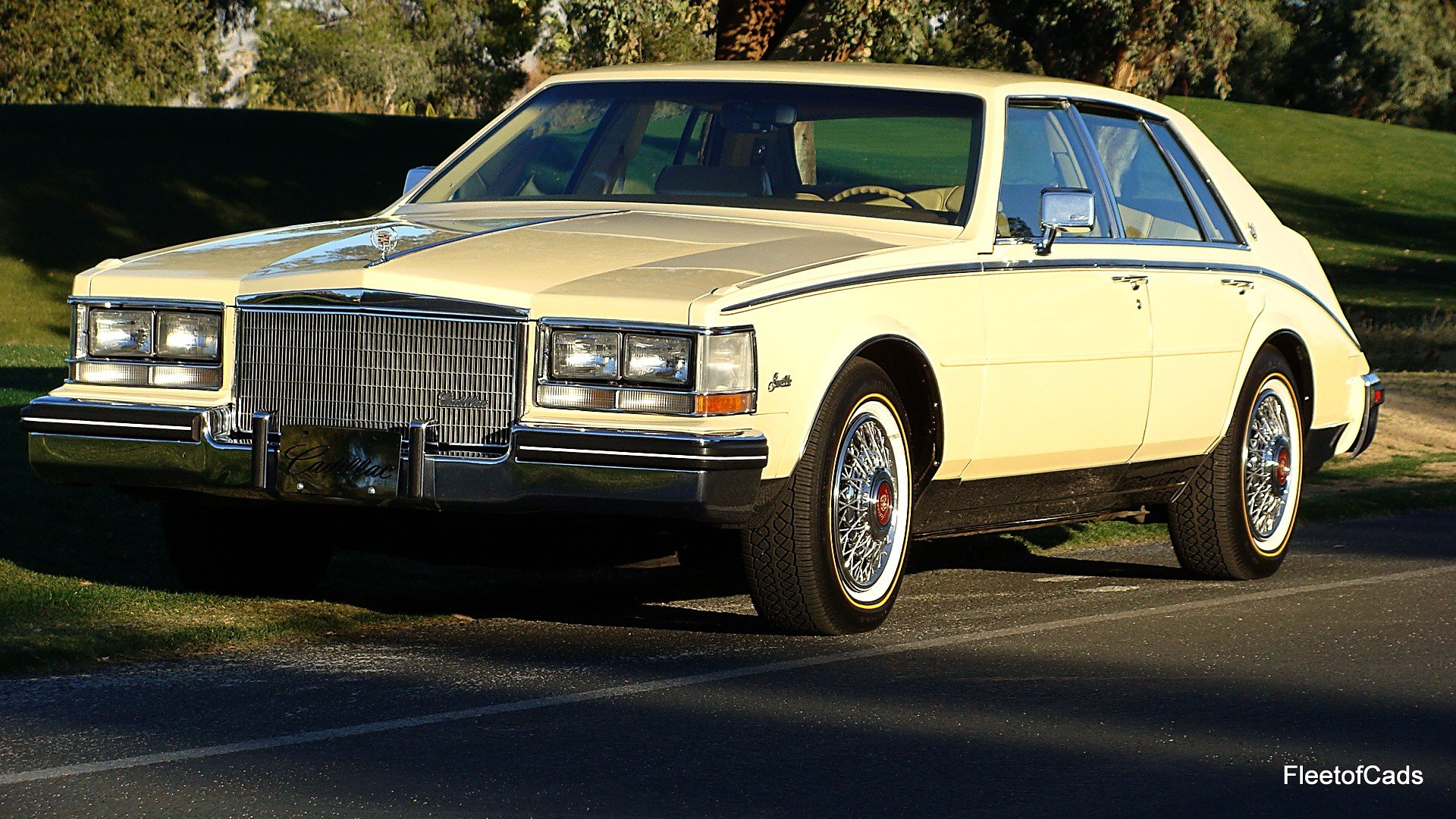 1985 cadillac seville in beautiful light yellow with a matching